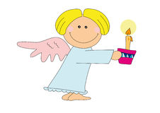 Nice angel. Illustration of nice angel with a candle, isolated on white Stock Photography