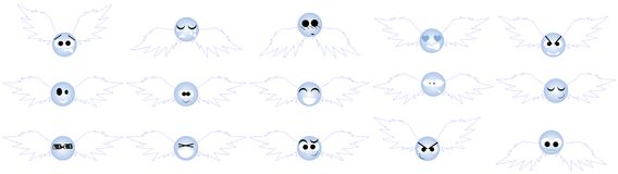 Set of Nice angel expressions isolated Stock Images