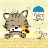 Nice animals cartoon at home. Cat drying his body after take a bath. Vector cartoon illustration, no mesh, vector on eps 10 vector illustration