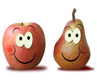 Nice apple and pear. Apple and pear with a nice face Royalty Free Stock Images