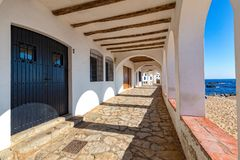 Nice arch in a small village Calella de Palafrugell Costa Brava, Spain.  Royalty Free Stock Images