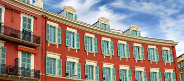 Nice - Architecture of buildings on the Place Massena Stock Photography