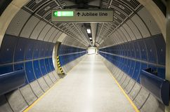 Nice architecture and details of corridor with sign Jubilee Line in London stock image