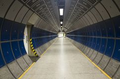 Nice architecture and details of corridor in subway under London city stock photos