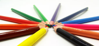 Array of color pencils Stock Images