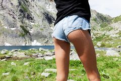 Nice ass of a girl surrounded by nature Stock Photos