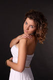 Nice attractive young woman in white dress Stock Image