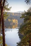 Nice autumn colorful trees with water, Czech landscape stock photography
