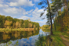 Nice autumn day on river Royalty Free Stock Photography