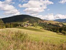 Nice autumn landscape near Velke Borove with meadows, countryside and hills royalty free stock photos