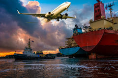Nice Aviation & Maritime background. Royalty Free Stock Photography