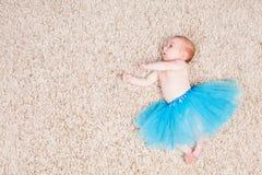 Nice Baby ballerina. Baby ballerina in foto studio in blue Stock Image