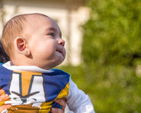 Nice baby biting lips puffing cheeks Royalty Free Stock Photography