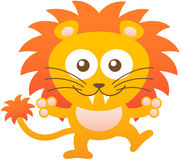 Nice baby lion hugging and smiling enthusiastically Stock Images