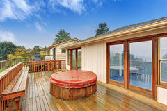 Nice back deck with a view. Stock Photography