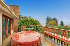 Nice back deck with a view. Royalty Free Stock Photo