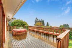 Nice back deck with a view. Royalty Free Stock Image