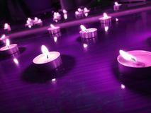Nice background with candle lights on the floor stock image