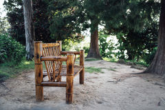 Nice bamboo chair in  the wood Royalty Free Stock Image