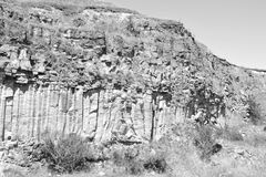 Nice Basalt Rocks Column are volcanic rock outcrops in the form of columnar basalt located in Racos, Romania. In an old roman abandoned career. It is a national royalty free stock images