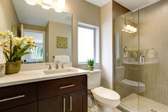Nice bathroom with glass shower. Royalty Free Stock Image