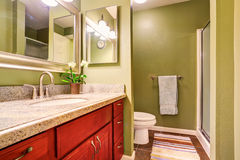 Nice bathroom interior with modern cabinet and green walls Stock Photography