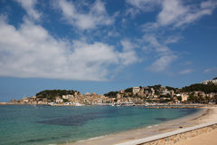 Nice bay with villas, Port de Soller, Mallorka, Spain Royalty Free Stock Photography