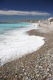 Nice beach. France pebbles and ocean stock photography