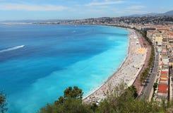 Nice beach , luxury resort of French riviera. Royalty Free Stock Image