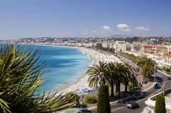 Nice Beach Panorama. Panoramic view of the beach and waterfront on the French Riviera in Nice Royalty Free Stock Photos
