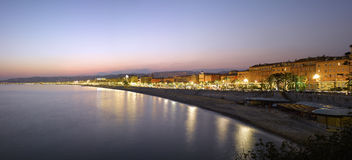Nice :  Beach Panorama at night Royalty Free Stock Photo