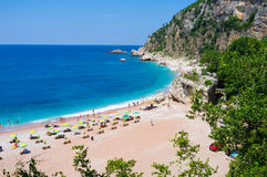 The nice beach. The scenic coast with the sand beach in Rezevici, Montenegro Stock Photo