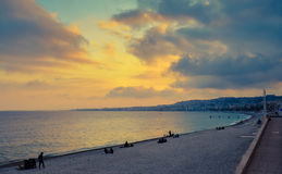 Nice beach at sunset Stock Photo