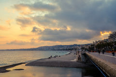 Nice beach at sunset. Royalty Free Stock Images