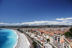 Nice beach and town. Nice, France stock images