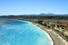 Nice beaches. Overhead view of beaches in Nice, France stock image