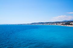 Nice, beautiful beach, French Riviera, Cote d`Azur or Coast of A. Zure Royalty Free Stock Images