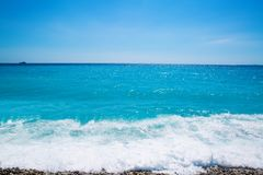 Nice, beautiful beach, French Riviera, Cote d`Azur or Coast of A. Zure Royalty Free Stock Photo