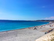Nice, beautiful beach, French Riviera, Cote d`Azur or Coast of A. Zure Stock Image