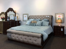 Nice bedroom furniture sale at furniture market Stock Image