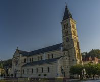 Nice big church in Kraslice town in summer morning. Nice big church in Kraslice town in summer hot morning royalty free stock image