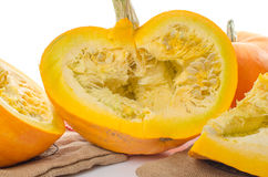 Nice big pumpkins cut into quarters Royalty Free Stock Photography