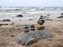 Baltic sea coast and beautiful  stones , Lithuania Royalty Free Stock Image