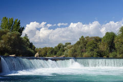 Nice big wide waterfall with crystal clear water Royalty Free Stock Photos