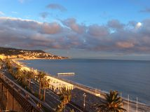 Nice bij zonsondergang Stock Fotografie
