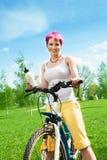 Nice biker woman Stock Photos