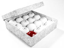 The nice billiard balls. In the box, rendering Stock Illustration