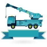 Nice blå stor kran med kroken och armen på vit, medel för konstruktionsmaskineri Royaltyfria Bilder
