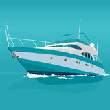 Nice blått motoriskt fartyg på havet Fotografering för Bildbyråer