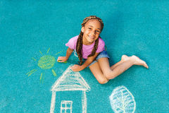 Nice black girl with chalk drawing Stock Photos